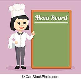 vrchní kuchař, big, děvče, deska, menu