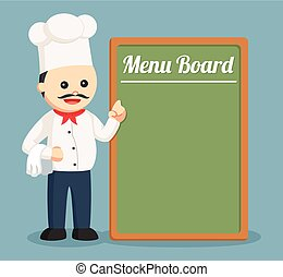 vrchní kuchař, big, deska, tlustý, menu