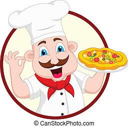 vrchní kuchař, charakter, karikatura, pizza