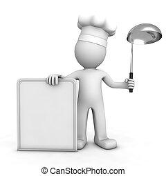 vrchní kuchař, menu, 3, deska, čistý