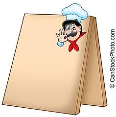 vrchní kuchař, menu, deska, karikatura