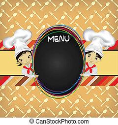 vrchní kuchař, menu, deska
