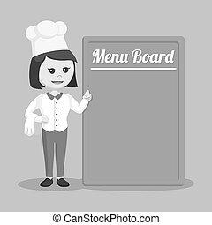 vrchní kuchař, menu, manželka, deska