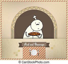 vrchní kuchař, připravovat, pizza, |, strava, a, nápoje,...