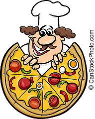 vrchní kuchař, pizza, karikatura, ilustrace, italský