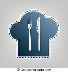 vrchní kuchař povolání, a, lžíce, vidlice, nůž, podpis.