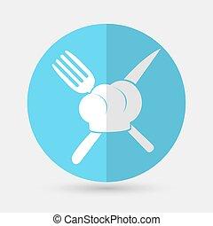 vrchní kuchař povolání, ikona, dále, jeden, běloba grafické pozadí