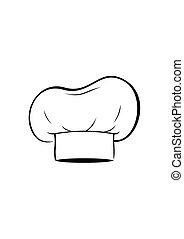 vrchní kuchař povolání, osamocený, oproti neposkvrněný, grafické pozadí., šatstvo, vařit, vektor, ilustrace