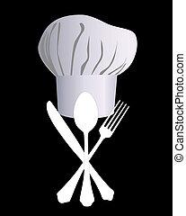 vrchní kuchař povolání, s, jeden, nůž, lžíce, a