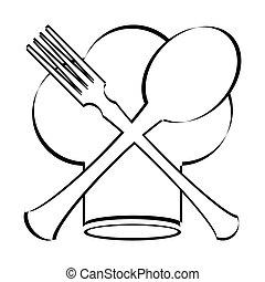 vrchní kuchař povolání, s, lžíce, vidlice, a, nůž