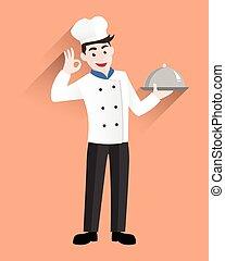 vrchní kuchař, profesionál, podnos, stříbrný, majetek