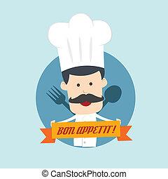 vrchní kuchař, show, lžíce, a, vidlice