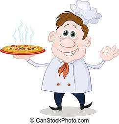 vrchní kuchař, vařit, horký, karikatura, pizza
