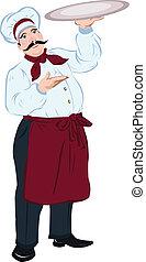 vrchní kuchař, vařit, podnos