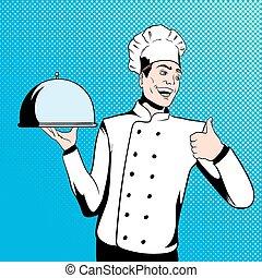 vrchní kuchař, vařit, podpora, podnos