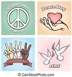 vrede, affiches, dag