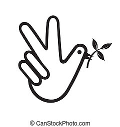 vrede, duif, hand
