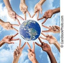vrede, en, multiracial, concept