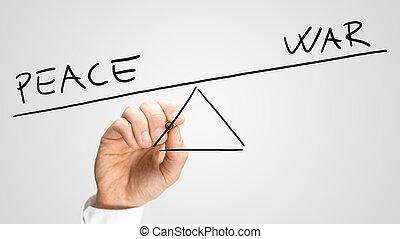 vrede, het in evenwicht brengen, oorlog, tegen, man
