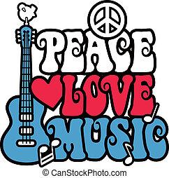 vrede, liefde, en, muziek