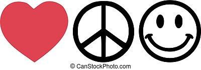 vrede, liefde, happyness