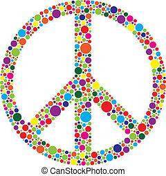 vrede symbool, met, polka punten, illustratie