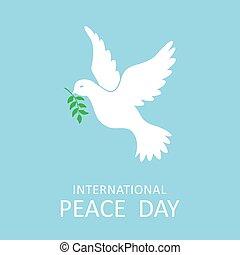 vrede, tak, olive, internationaal, duif, dag