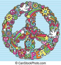 vrede teken, duif, psychedelic, doodles