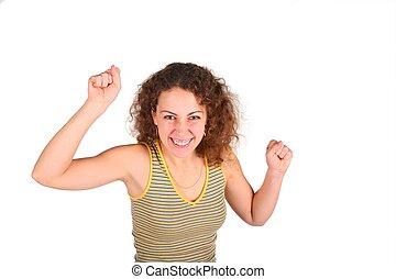 vrede, ung kvinde, gestuser, af, den, hænder
