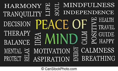 vrede, verstand, concept., motivational, achtergrond., black , inspirational