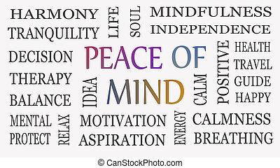 vrede, verstand, concept., motivational, achtergrond., inspirational, witte