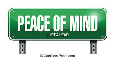 vrede, verstand, illustratie, meldingsbord, ontwerp, straat