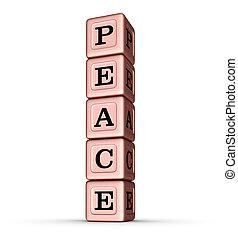 vrede, woord, teken., verticaal, stapel, van, roos, goud, metalen, speelbal, blocks.