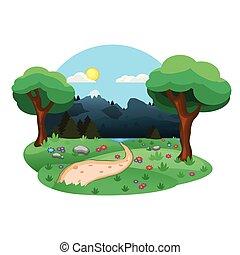 vredig, achtergrond, illustratie, natuur