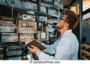vreemd, laboratorium, ingenieur, boek, test