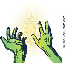 vrees, vector, illustratie, handen