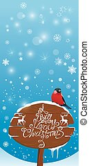 Vretical card with bullfinch bird and wooden sign on light blue