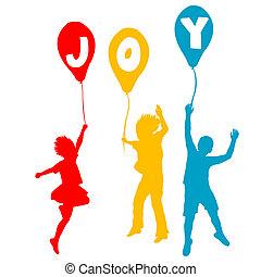 vreugde, boodschap, ballons, kinderen, vasthouden