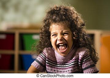 vreugde, kleuterschool, vrouwelijk kind, glimlachen gelukkig