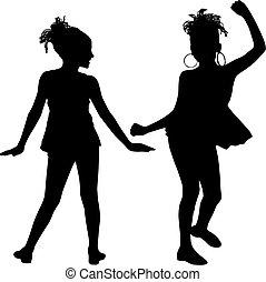 vreugde, silhouette, kinderen