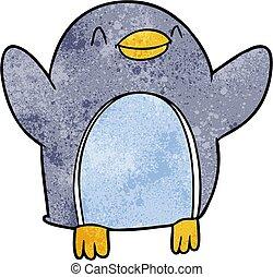 vreugde, springt, spotprent, penguin