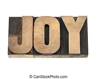 vreugde, woord, in, hout, type