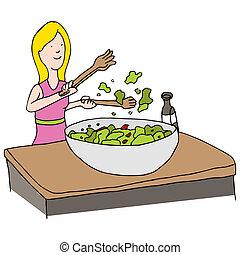 vrhnout salát