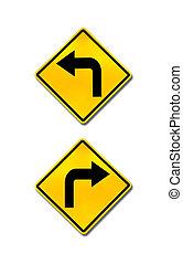 vrida, rättighet, vänster, väg signerar