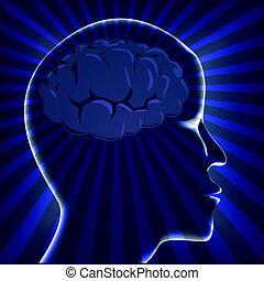 vrida, stråle, mänsklig, illustration, hjärna