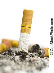 vridet, cigarett, av, askkopp