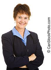 vriendelijk, businesswoman, middelbare leeftijd