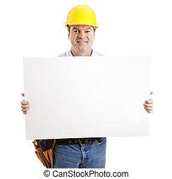 vriendelijk, de arbeider van de bouw, met, meldingsbord