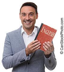 vriendelijk, man, het tonen, een, engelse , textbook.