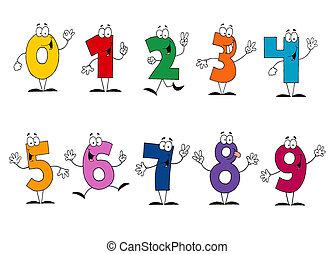 vriendelijk, spotprent, getallen, set